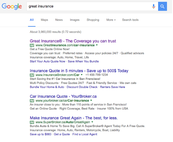 Screenshot Google Great Insurance Dialekta