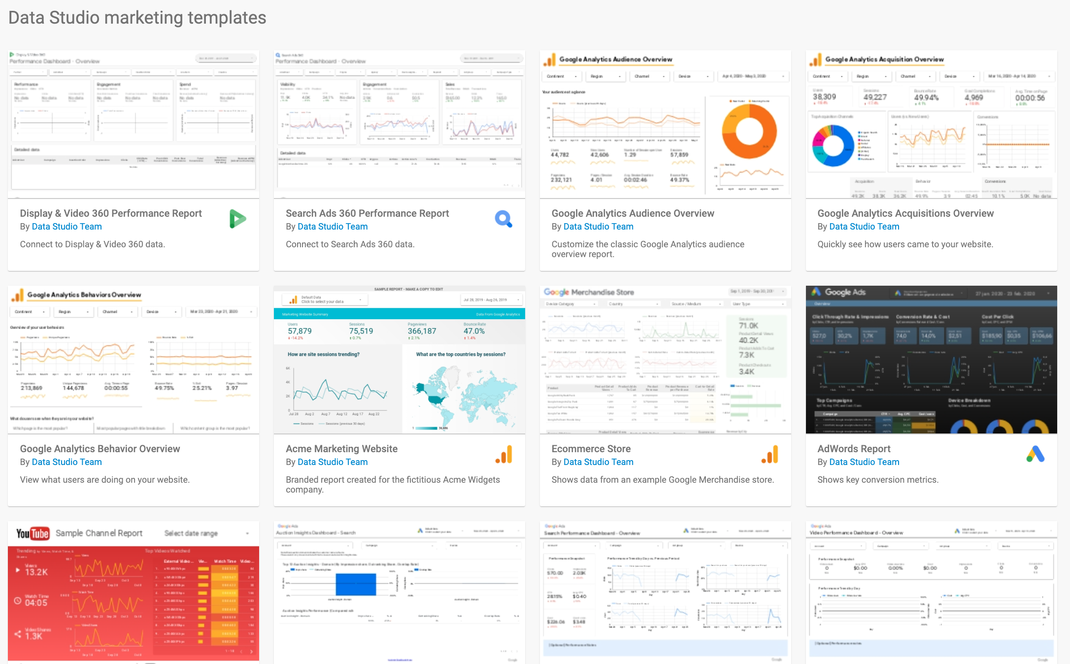 Data Studio Marketing Templates